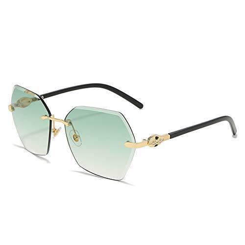 QINGZHOU Gafas de Sol,Gafas de sol para mujer Anillo interior de diamante Decoración de seda Gafas de moda coloridas Recortando gafas de sol cuadradas