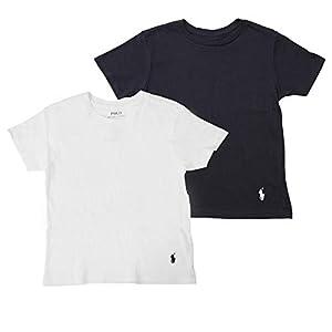 (ポロラルフローレン) POLO RALPH LAUREN クルーネック 半袖 Tシャツキッズ 2枚セット 子供 肌着 ボーイズ ガールズ トドラー 幼児 男児 女児 こども 男の子 女の子 2枚組 セット プレゼント ギフト 海外S(日本110-120相当):クルーネック ホワイトネイビーセット [並行輸入品]