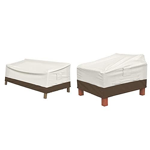 Amazon Basics Housse pour canapé Lounge 2Places à Assise Profonde & Lot de 2Housses pour fauteuils Lounge à Assise Profonde