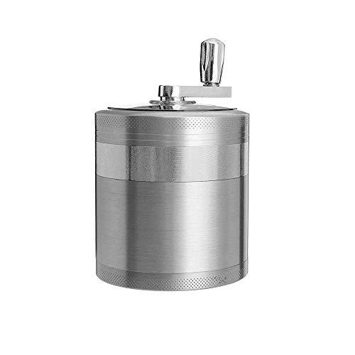 Abrahmliy Tritacarne Metallo Cromato Crusher, Erbe Grinder 4 Pezzi di Erbe Lega Fumo per Barbecue da Picnic (Color : Silver, Size : 63x63x76mm)