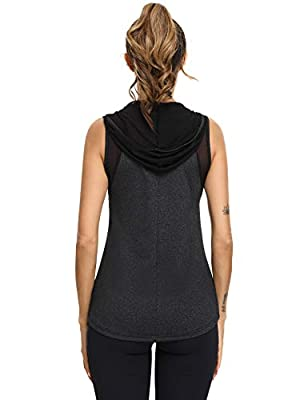Sykooria Workout Shirts for Women Loose Fit Activewear Tops Mesh Hoodie Running Muscle Tank (Black,L)