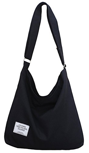 Covelin Women's Retro Large Size Canvas Shoulder Bag Hobo Crossbody Handbag Casual Tote Black