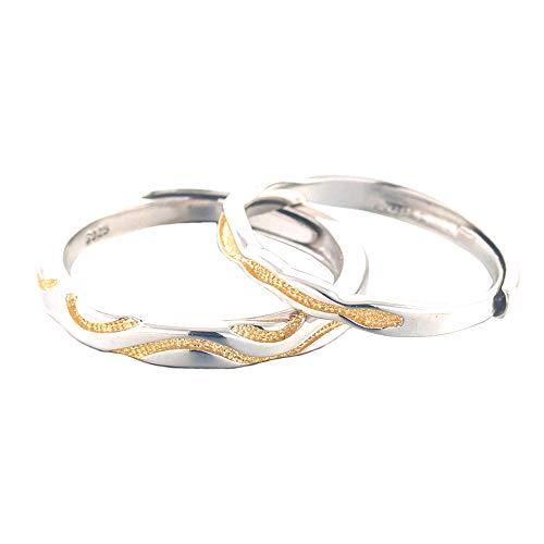 Ostory 指輪 個性的な ペアリング シルバー925純銀製 ペア指輪 カップル リング 婚約リング 婚約指輪 スライド調整 フリーサイズ レディース メンズ アクセサリー