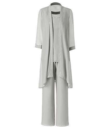 Pretygirl Damen 3 Stück Satin Chiffon Kleid für die Brautmutter Hose mit Jacke Outfit für Hochzeit Bräutigam(US 12, Silber Grau)