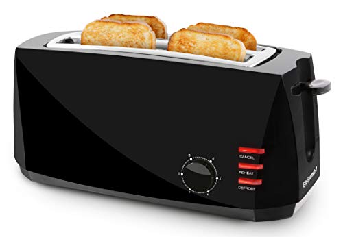 Elite Gourmet ECT4829B Maxi-Matic 4 Slice Long Toaster 6 Toast Settings, Defrost, Reheat, Cancel Functions, Extra Wide 1.5' Slots for Bagels Waffles, Slide Out Crumb Tray, Black