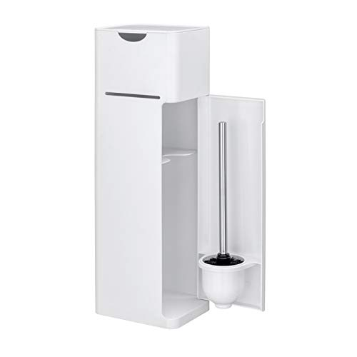 WENKO Stand WC-Garnitur Imon 6 in 1, mit integriertem Toilettenpapierhalter, WC-Bürstenhalter, Ersatzrollenhalter, Stauraumfächer und Ablage, solider Kunststoff, 20 x 58,5 x 15 cm, Weiß mattiert