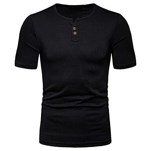 Camiseta de manga corta con cuello en V para hombre Negro Negro ( S