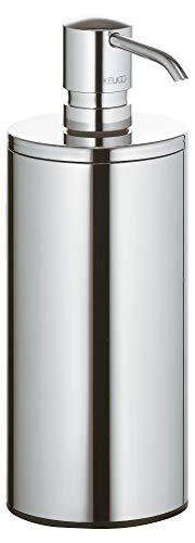 KEUCO Lotion-Spender Metall verchromt, Inhalt nachfüllbar ca. 250ml, Seifenspender für Bad und Gäste-WC, Standmodell, Ersatz-Pumpe inklusive, Plan