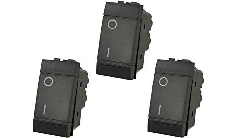 3X Interruttore 2P 16A Bipolare Nero Compatibile Bticino Living SD80002