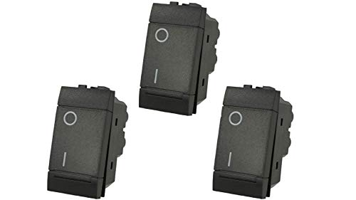 3 interruptores 2P 16 A bipolar negro compatible Bticino Living SD80002