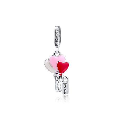 PANDOCCI 2019 Muttertagsgeschenk Rot & Rosa Herz Luftballons Baumeln Perle 925 Silber DIY Passt für Ursprüngliche Pandora Armbänder Charme Modeschmuck