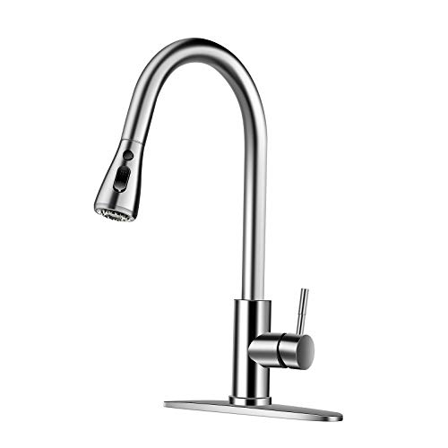 GOBOW Kitchen Faucets with Pull Down Sprayer, Kitchen Sink Faucet Kitchen Faucet with Deck Plate, Single Handle High Arc Brushed Nickel Faucets for Kitchen Sinks