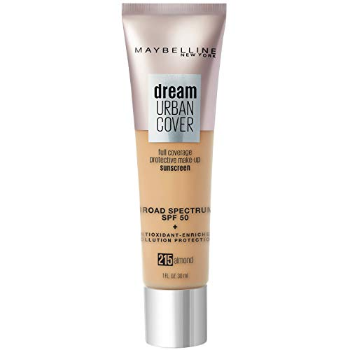 Maybelline Dream Urban Cover Flawless Coverage Foundation Makeup, SPF 50, Almond