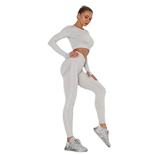 DamaiOpeningcs Leggings Scrunch para Mujer,Se Divierte los Pantalones de la Yoga de la Aptitud, Mujeres sin Costura del Juego de la Ropa de la Yoga-Gris Claro_S