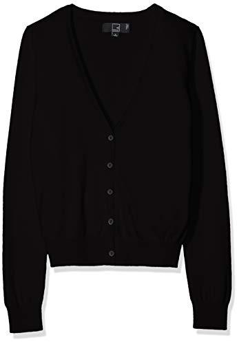 Amazon-Marke: MERAKI Baumwoll-Strickjacke Damen mit V-Ausschnitt, Schwarz (Black), 38, Label: M