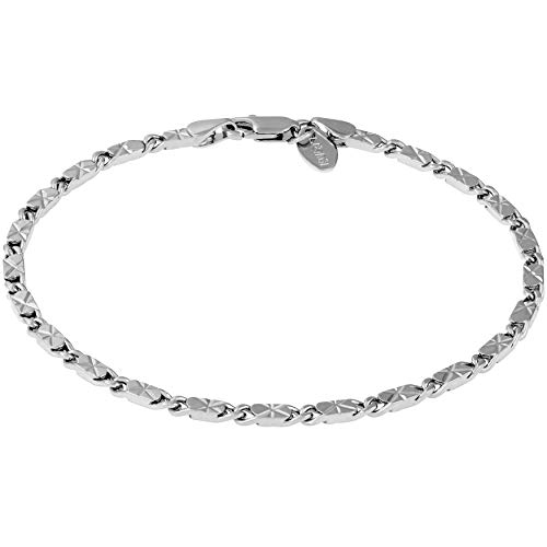 Lifetime Jewelry Ankle Bracelet [ 24k Gold Plated Diamond Cut Star Flat Link Chain ] Durable Anklets for Women Men & Teen Girls - Cute Foot Chains (9.0, gold-plated-bronze)