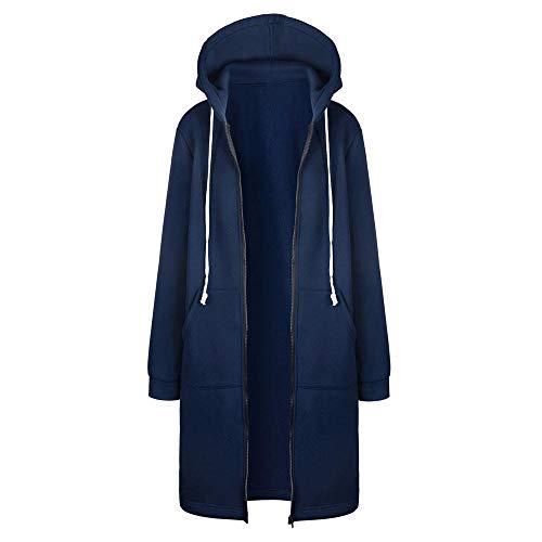 HGWXX7 Women's Warm Plus Size Zipper Open Hoodies Sweatshirt Long Coat Jacket Tops Outwear S~5XL(Blue,5XL)