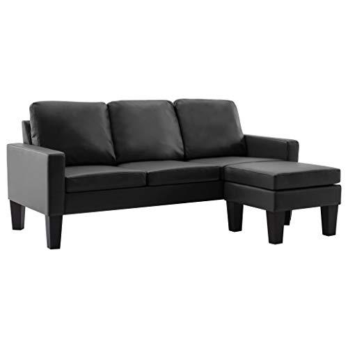 vidaXL Sofa 3-Sitzer mit Hocker Couch Polstersofa Loungesofa Sitzmöbel Wohnzimmersofa Sofagarnitur Designsofa Ledersofa Schwarz Kunstleder