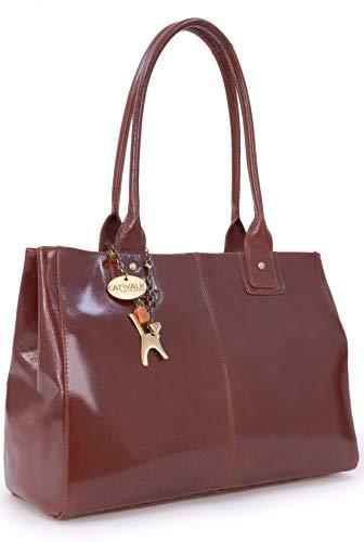 CATWALK COLLECTION - KENSINGTON - Bolso de hombro estilo shopper - Cuero vintage - Grande - Marrón