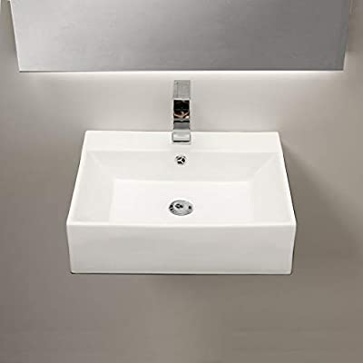 """Mocoloo Wall Mounted Bathroom Sink- 20""""x18"""" Rectangle White Wall Hung Porcelain Sink With Overflow, Hand Washing Ceramic Basin Hanging Lavatory Sink"""