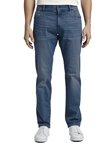 TOM TAILOR Herren Jeanshosen Josh Regular Slim Jeans Used Bleached Blue Denim,38/34