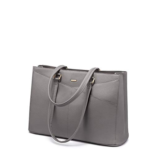 Laptop Tote Bag for Women 15.6 Inch Waterproof Leather Computer Bags Women Business Office Work Bag Briefcase Grey