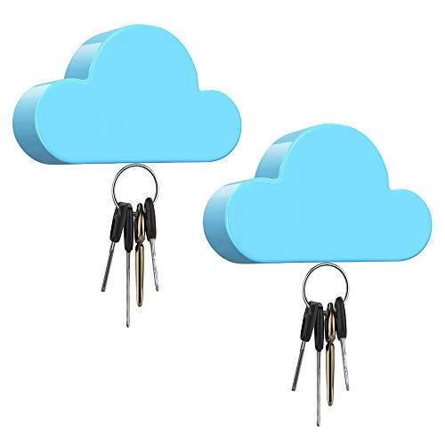 Dadanism [2 PZS Soporte Magnético para Llaves en Forma de Nubes, Colgador Porta Llaves Magnético para Entrada Puerta de Casa, Oficina, y Decoración de Sala de Estar - Azul
