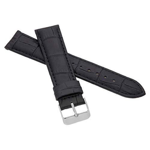 MARCHEL Croco LM-45 Lederarmband 19 mm Schwarz Krokoprägung Uhrenarmband Krokodilmuster Uhrband Rindsleder