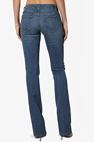 TheMogan Women's Washed Stretch Denim 32 Mid Rise Slim Boot Cut Jeans Medium 13