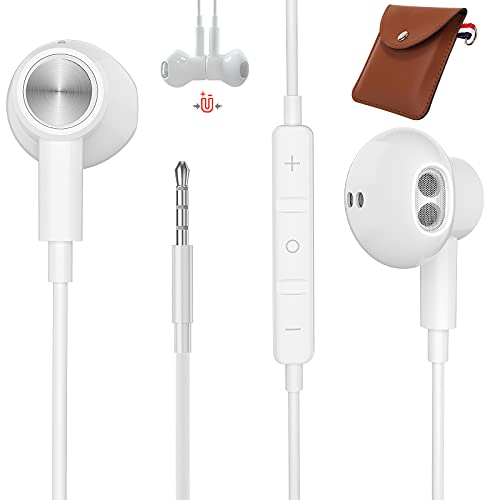 Cuffie da 3,5 mm, TUBhanggai Auricolari con spinotto per cuffie da 3,5 mm, Cuffie con microfono e controllo del volume, Auricolari cablati per Samsung Note 9 S10 S9 A52 A72 iPhone SE 6 6s Plus MP3 MP4