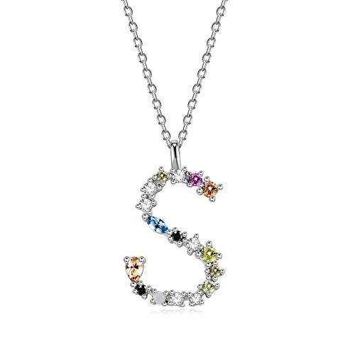 qwertyuio Collares para Mujer Collar De Plata De Ley 925 para Mujer Oro Letra M Colgante Inicial F 26 Collares del Alfabeto Ópalos Zirconia Svn472-Sa