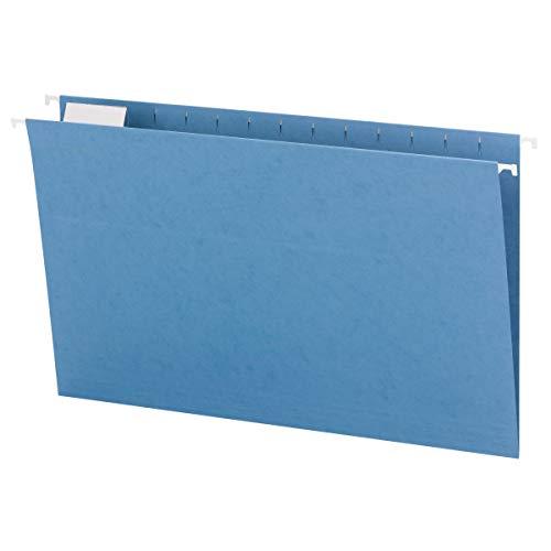 Smead Hanging File Folder with Tab, 1/5-Cut Adjustable Tab, Legal Size, Blue, 25 per Box (64160)