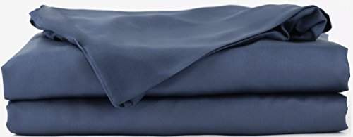 Hotel Sheets Direct 100% Bamboo Bed Sheet Set - Soft as Silk - 4 Pieces Fitted Sheet, Flat Sheet, and 2 Standard Queen Size Pillowcases - Oeko Tex Certified (Queen, Navy Blue)