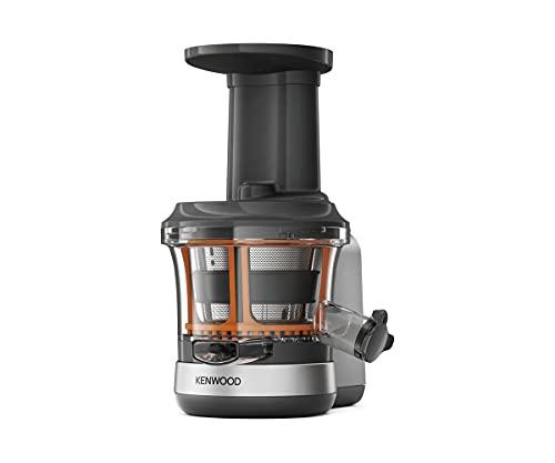 Kenwood Slow Juicer KAX720PL Zubehör für Kenwood Küchenmaschinen, elektrischer Entsafter mit 400ml Saftbehälter und Anti Tropf Funktion, Silber Grau