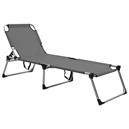 vidaXL Extra Hohe Senioren Sonnenliege Klappbar Liege Gartenliege Klappliege Relaxliege Strandliege Freizeitliege Campingbett Grau Aluminium