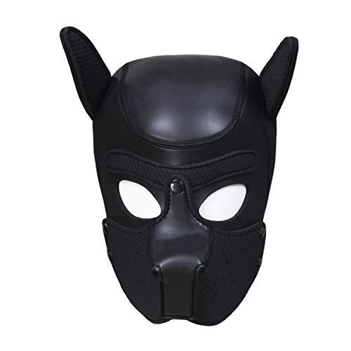 Unisex Kostuum Hond Hoofd Masker met Kraag, Neopreen Volledige Gezicht Puppy Hood Cosplay Masker Choker Set Neopreen Puppy Masker Hond Hood Huisdier Hoed Verwijderbare Mond Cosplay Party Props Animal Imitatie Puppy Masker