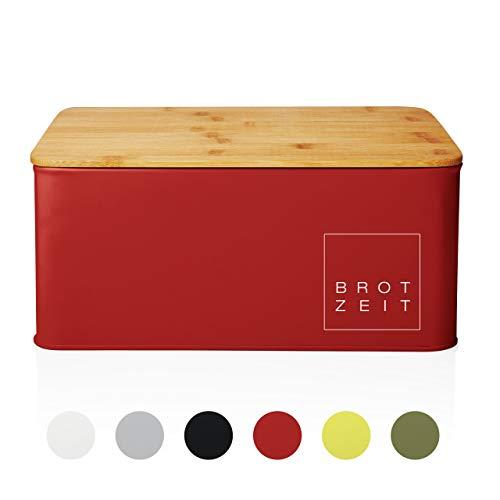 Lumaland Cuisine Brotkasten Brotdose Brotbox aus Metall mit Bambus Deckel, Brotbehälter rechteckig, 30,5 x 23,5 x 14 cm Rot