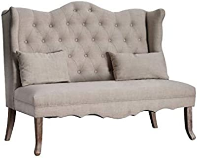 Amazon.com: Tov Furniture Fairfield Linen Loveseat, Grey ...