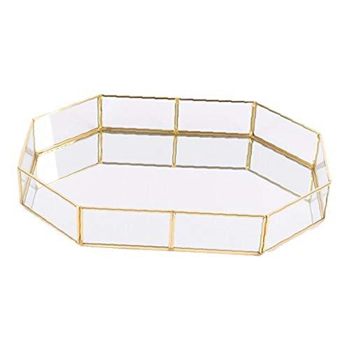 KHHGTYFYTFTY 1PC Decorativo de Cristal Bandeja Polígono Grandes Joyas de Oro-Plateado Plato de latón de la Vendimia Bandeja de la Mesa de Centro de Perfume Bandeja 12.38'* 8.45' * 1.97