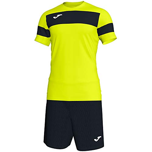 Joma Academy ll Conjunto de Fútbol, Niños, Amarillo (Fluorescent Yellow-Black), XS