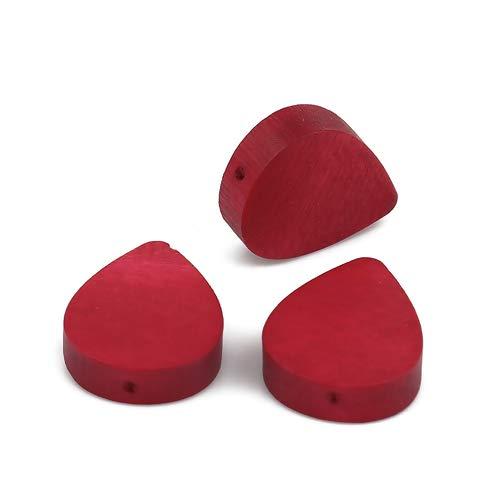 SiAura Material - 30 cuentas de madera rojas de 16 mm x 19 mm con agujero de 1,1 mm I forma de gota plana I para manualidades, enhebrar y pintar.