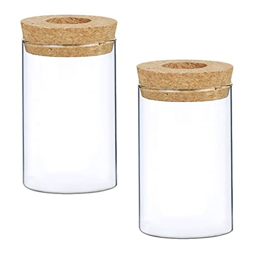 HEMOTON Jarrón de cristal de escritorio con tapa de corcho y agujero,...
