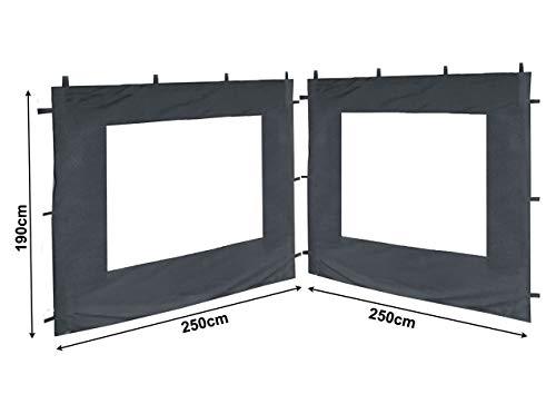 QUICK STAR 2 Seitenteile 250x190cm zu Gartenpavillon Antik Pavillon Partyzelt 3x3m Seitenwand Grau