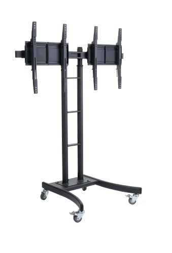 Displays2go MB895DHBK Floor Stand for TVs and Dual Monitor Mount with Side-By-Side Brackets for 24-Inch to 55-Inch LCD Monitors