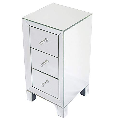 Tita Dong Mirrored Bedside Table Nightstand With 3 Drawer And Crystal Style Knobs Black Rose Gold Silver Buy Online In Bulgaria At Desertcart Com Productid 191246465