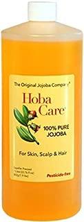 The Jojoba Company Pesticide-Free HobaCare Jojoba 34 oz. (1 L) – Pure Jojoba for Face and Skin
