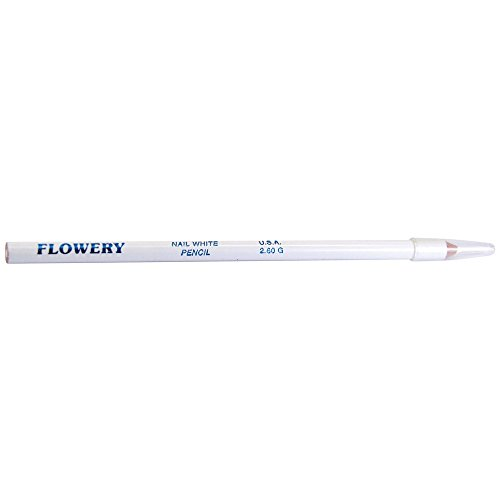 Flowery Nail White Pencil with Cuticle Pusher Cap - 7' Long