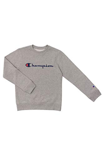 Champion Unisex Heritage Boy and Girls Fleece Pullover Scipt Sweatshirt (Medium, Heritage Oxford Heather)