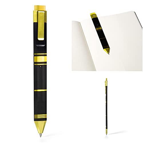 Pen Bookmark, Erasable Gel Pen and Bookmark 3-in-1, Write/Erase, Ink Novelty Pen Eraser Book Reading Page, Stationery Gift Idea (Black & Gold)