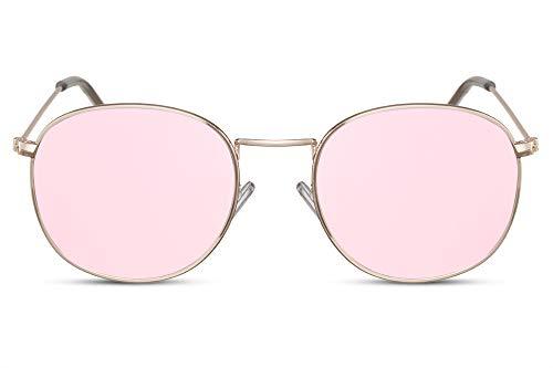 Cheapass Sonnenbrille Rund Rosé-Gold Verspiegelt UV-400 Oval John-Lennon Festival-Brille Metall Damen